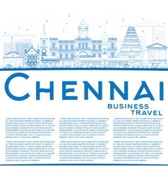 Outline chennai skyline with blue landmarks vector