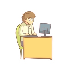 Office worker behind the desk vector