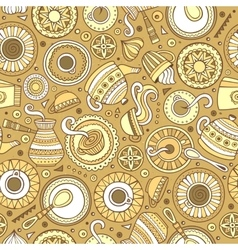 Cartoon hand-drawn coffee shop seamless pattern vector