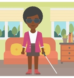 Blind woman with stick vector