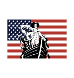 American revolution soldier general flag vector