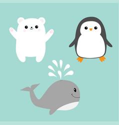 arctic polar animal icon set white bear penguin vector image