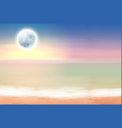 Beach with full moon at night vector