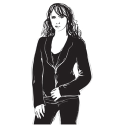 Black and white fashion woman model sketch vector image vector image