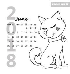 calendar with a dog vector image