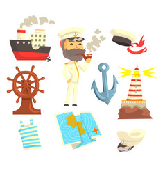 Captain with smoking pipe set for label design vector