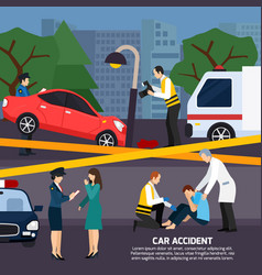 car accident flat style vector image vector image