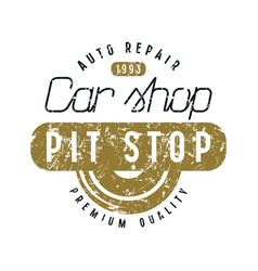 Car shop and pit stop emblem vector