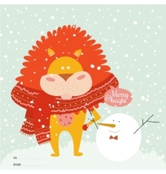Christmas card with cartoon and funny animals vector