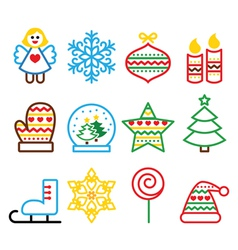 Christmas colored icons with stroke - Xmas tree vector image vector image