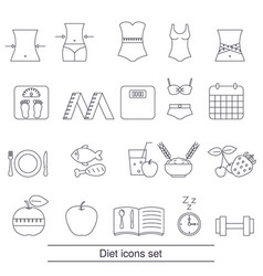 Diet icons set diet icons set vector