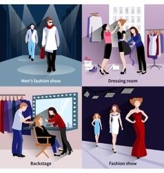 Fashion model catwalk set vector