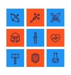 Game icons rpg fantasy items swords magic wand vector