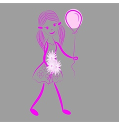 Girl with a bunch of flowers vector