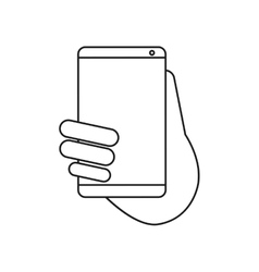 Hand holds smartphone sms chat technology outline vector