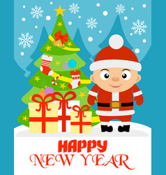 happy new year with boy vector image