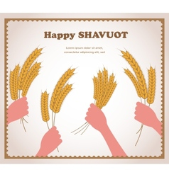 Happy shavuot jewish holiday card vector