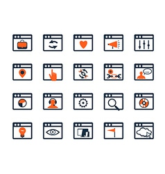 Icon set Web development and SEO Flat design vector image vector image
