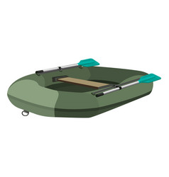 Inflatable dark green boat with two paddles and vector