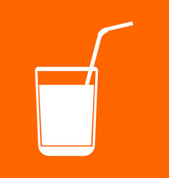 Juice glass with drinking straw white icon vector