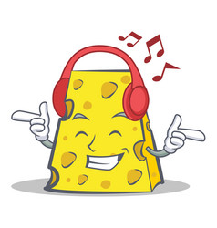Listening music cheese character cartoon style vector