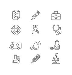 Medical Icon Outline Set vector image