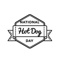 National hot dog day greeting emblem vector