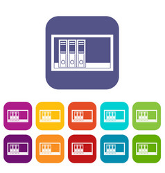 office folders on the shelf icons set flat vector image vector image