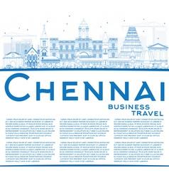 Outline chennai skyline with blue landmarks vector