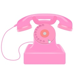 Pink retro telephone vector image
