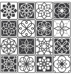 Portuguese azulejo tiles design seamless patterns vector