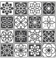 portuguese azulejo tiles design seamless patterns vector image vector image