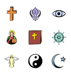 Religion symbol icons set cartoon style vector