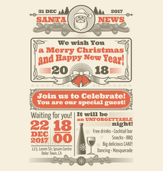retro christmas newspaper with xmas typography and vector image