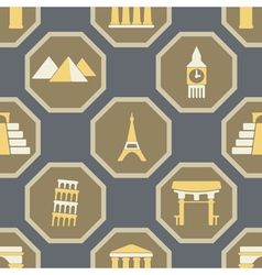 Seamless background with architectural monuments vector