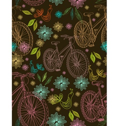 seamless floral background with bikes vector image vector image