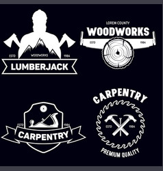 Set of isolated vintage lumberjack labels with vector