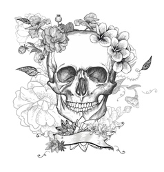 Skull and flowers day of the dead vector