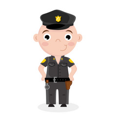 smiling little boy in police officer uniform vector image
