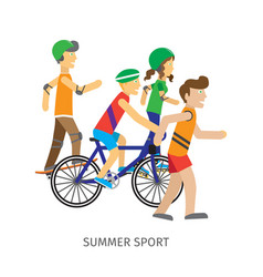 Summer sport children going in for sport vector