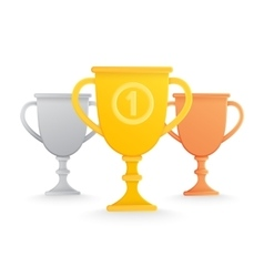Trophy cups isolated on white vector image vector image