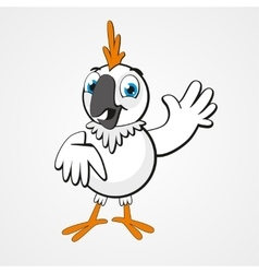 White funny cartoon hilarious parrot isolated on vector image vector image