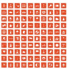100 bicycle icons set grunge orange vector