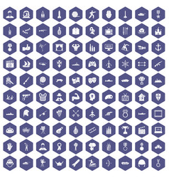 100 hero icons hexagon purple vector