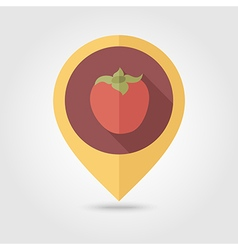 Persimmon flat pin map icon Tropical fruit vector image