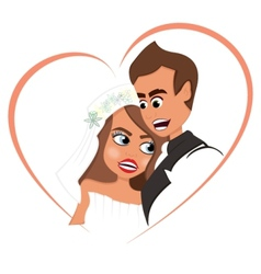 Newlyweds in love vector