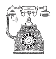 Vintage phone with floral ornament vector