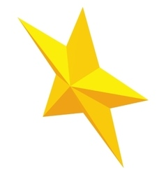 Gold metal five-pointed star icon vector