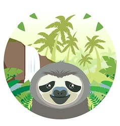 Sloth on the Jungle Background vector image
