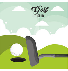 Golf club ball field hole one poster vector